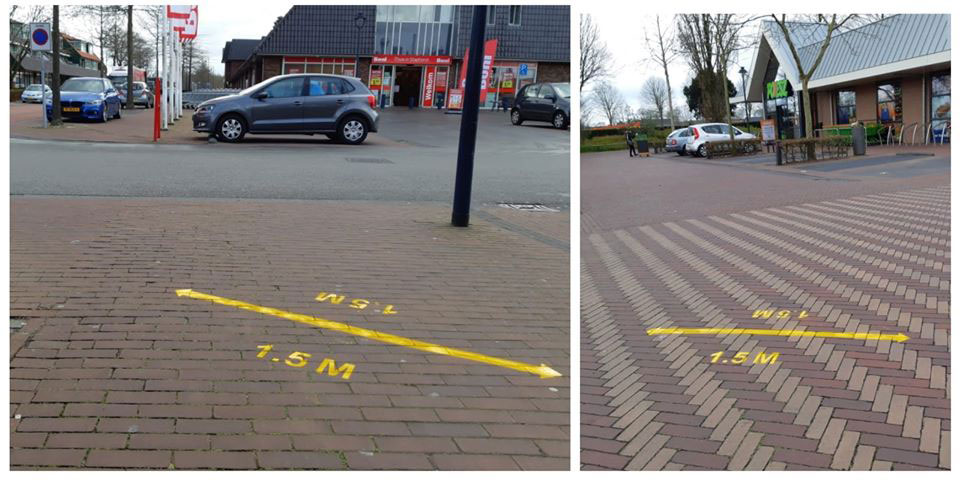 Politiestudenten brengen 1,5 meter tags aan in Staphorst, Steenwijk en Giethoorn