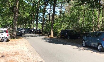 Parkeerplaatsen bosvijver afgesloten, auto's staan massaal langs de Vijverweg