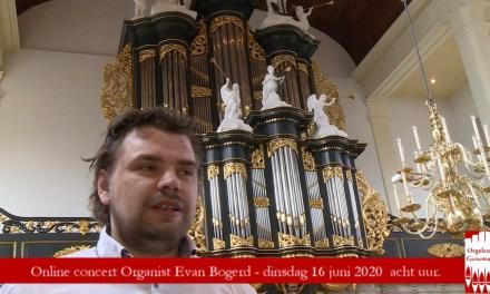 Evan Bogerd bespeelt dinsdag 16 juni 20.00 uur het Zwier van Dijk orgel in Genemuiden