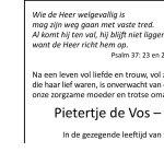 Overlijdensbericht Pietertje de Vos – Dragt