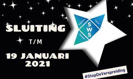 Mededeling SWS: tot 19 januari 2021 alles afgelast en gesloten