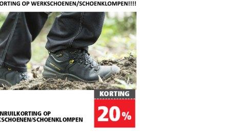 Welkoop: 20% inruilkorting op werkschoenen/schoenklompen!!!