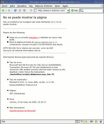 Pantallada de la plana que envia el servidor e-noticies.com