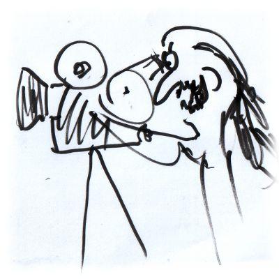 Kaŕikatur: Ulf als Kameramann.