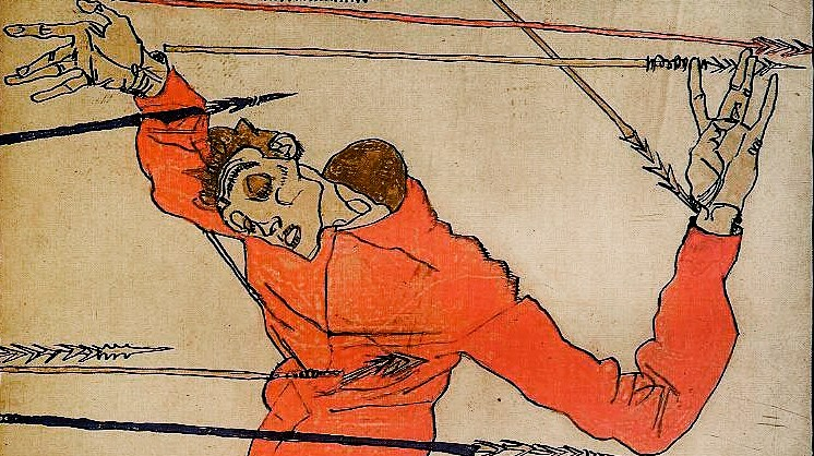 Schiele's self portrait as St Sebastian