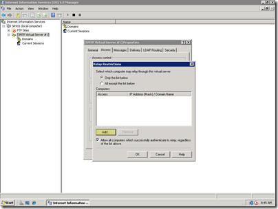Setting up a Local Mail Server for a SharePoint Virtual Machine on Server 2008 (5/6)