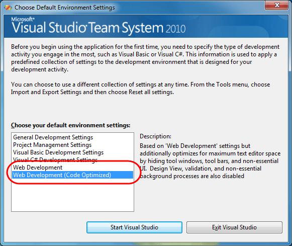 0 Choose Default Environment Settings