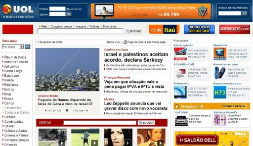 Detalhe da nova homepage do portal UOL