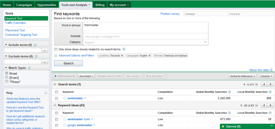 domain research with Google Adwords Tool