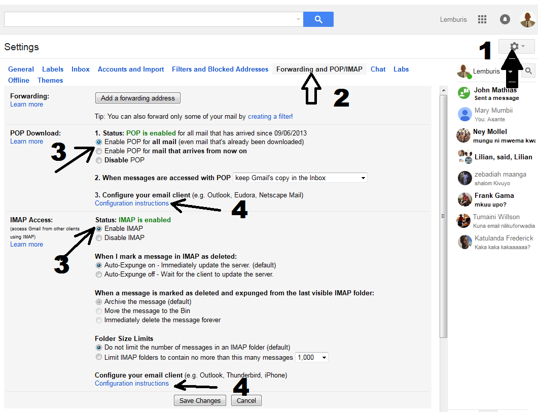 Gmail on Email Client setting instructions