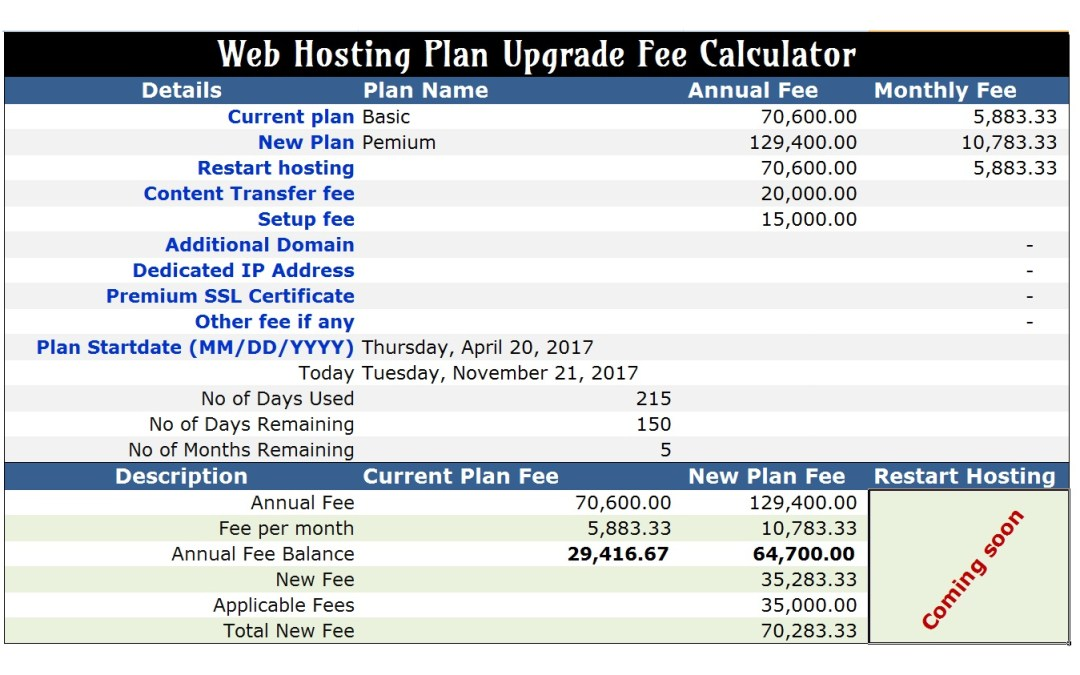 Web Hosting Plan Upgrade Fee Calculator
