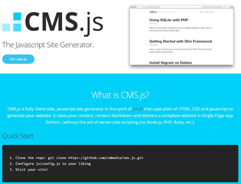 webmaster-kitchen-cms-js-homepage-screenshot