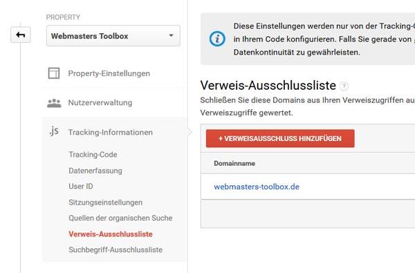 Google Analytics: Verweis-Ausschlussliste