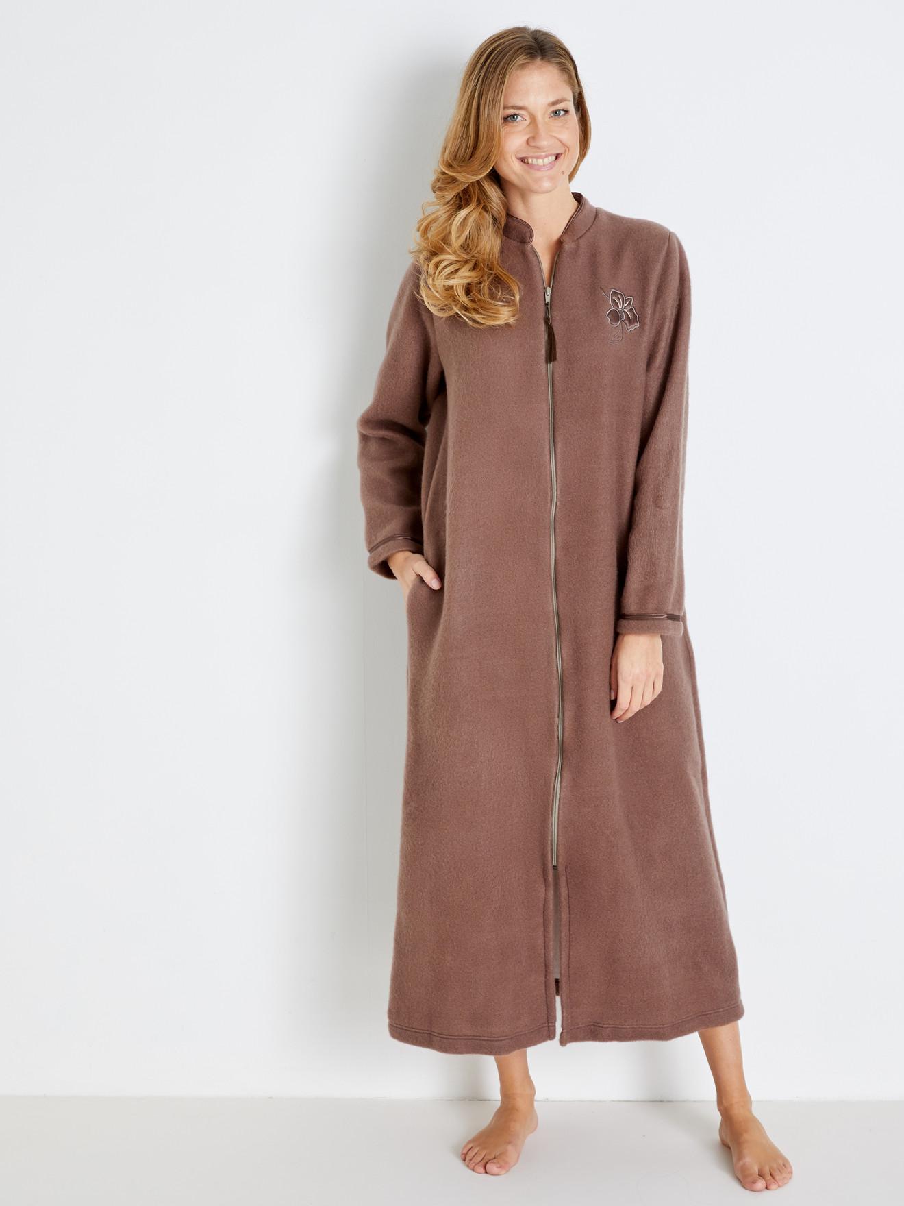 Robe De Chambre Zip Molleton Courtelle Lingerelle Femme Daxon