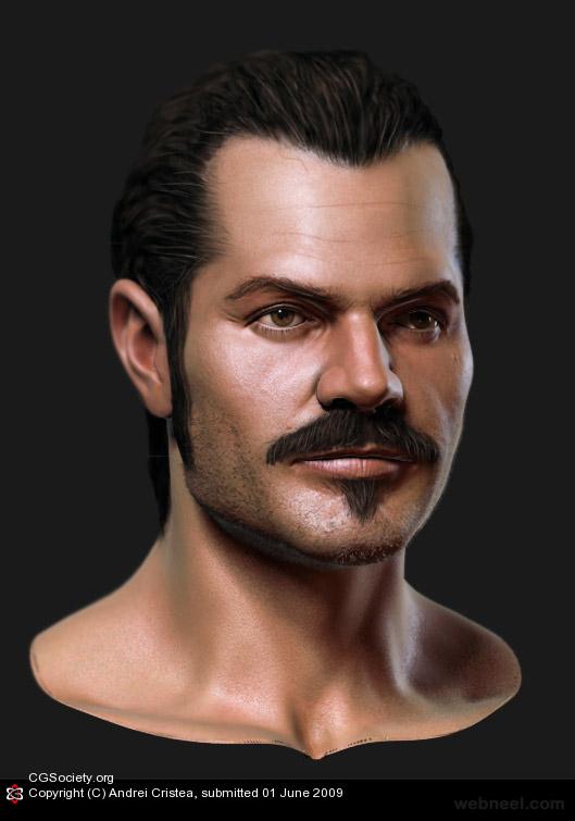 realistic 3d men portrait