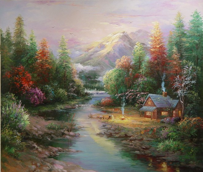 Serene Wallpapers Large Fall Beautiful Landscape Oil Paintings