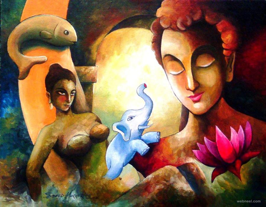 Indian Girl Wallpapers For Desktop Sketch Buddha Indian Paintings By Mukherjee 6