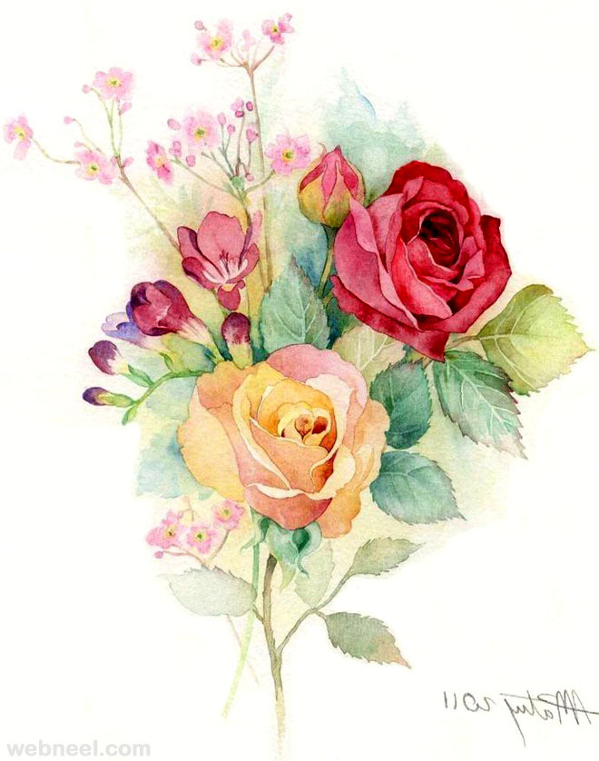Orange Fall Peonies Wallpaper 25 Beautiful Rose Drawings And Paintings For Your Inspiration
