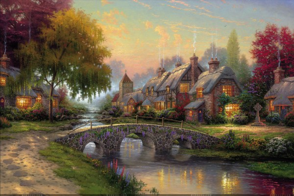 Thomas Kinkade Cobblestone Bridge