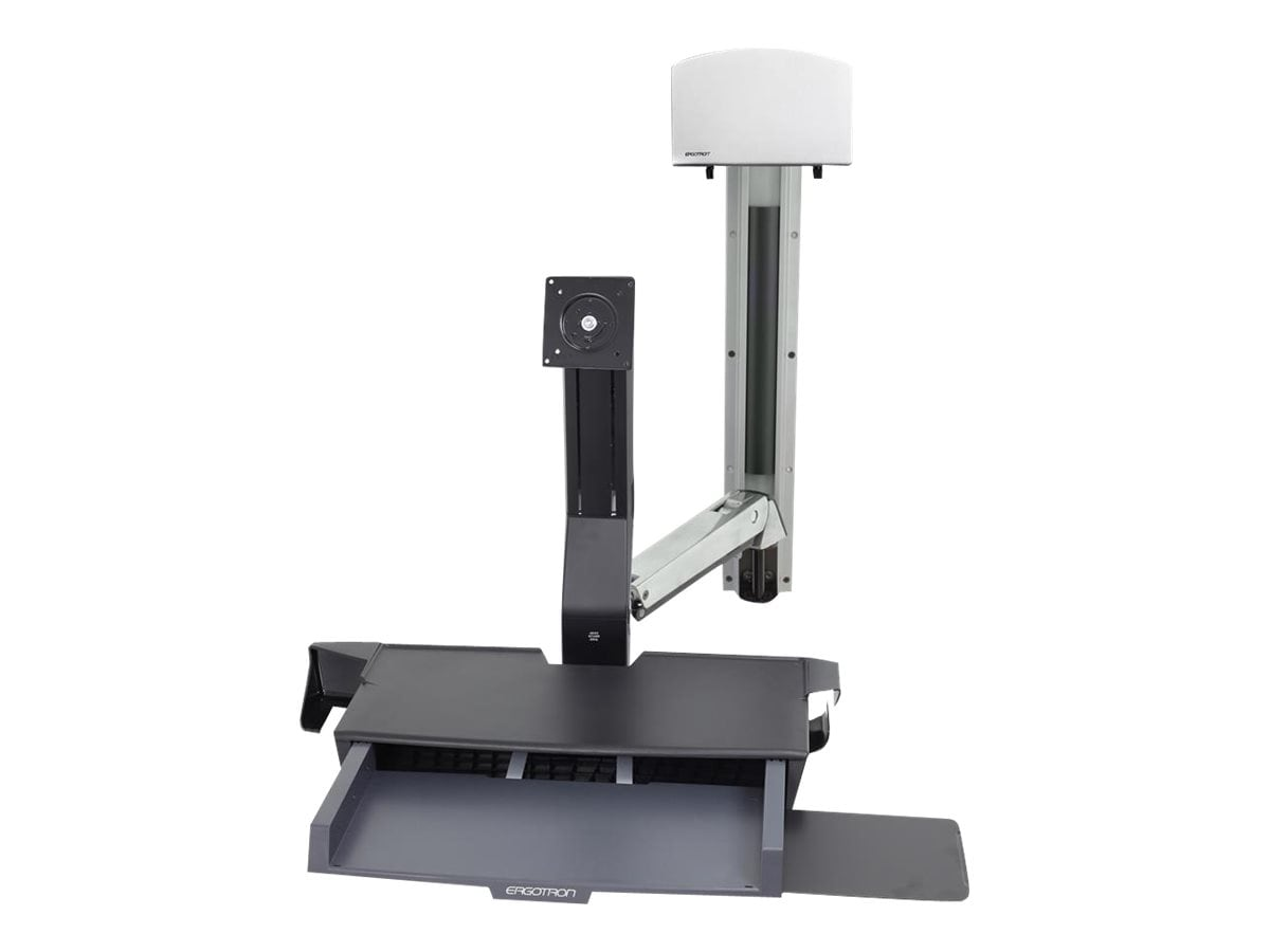 closeup of ergotron styleview wall mount sit stand combo system with worksurface [ 2008 x 1223 Pixel ]