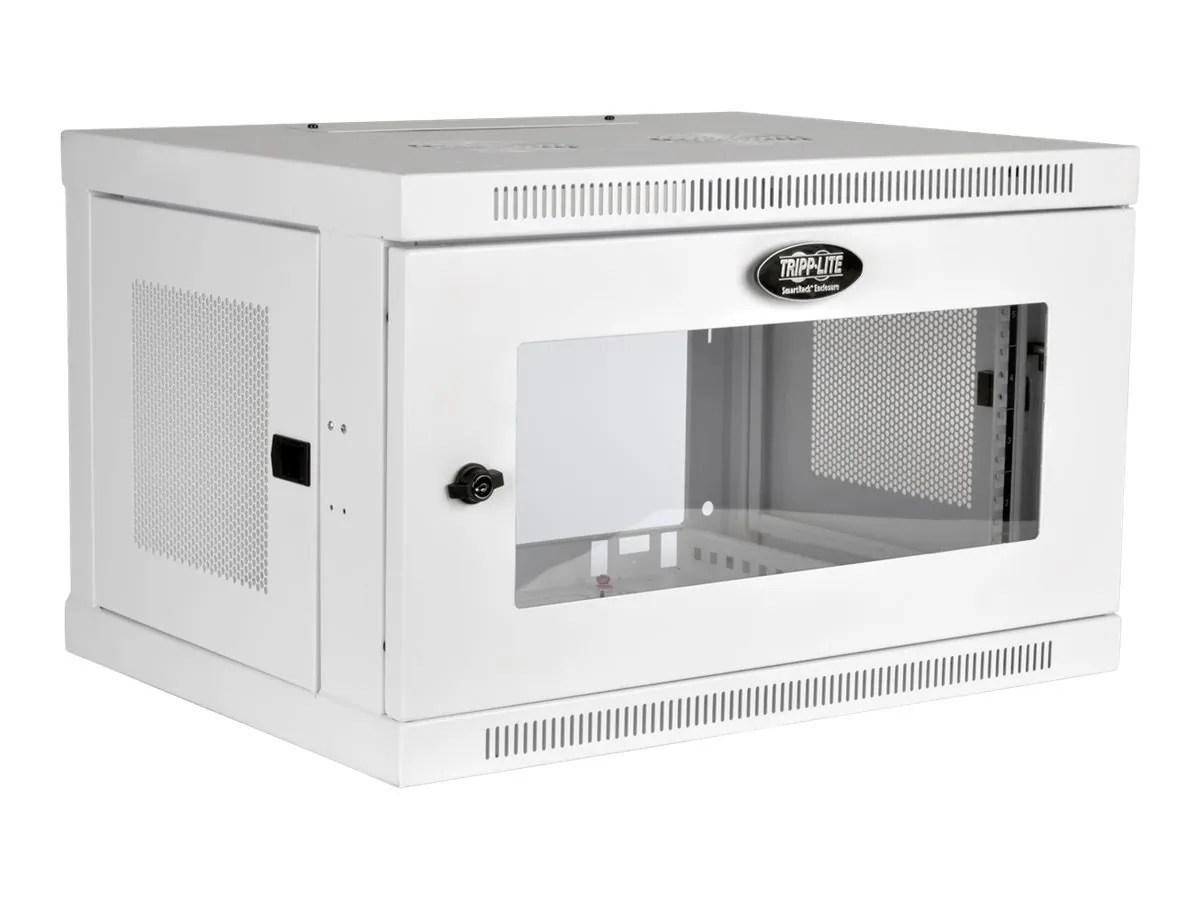 tripp lite 6u wall mount rack enclosure cabinet white w acrylic glass door