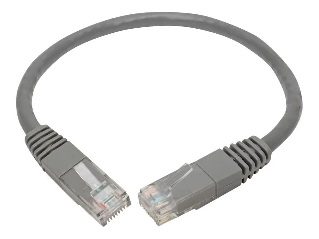 closeup of tripp lite cat6 cat5e gigabit molded patch cable rj45 m m 550mhz gray [ 2008 x 1223 Pixel ]