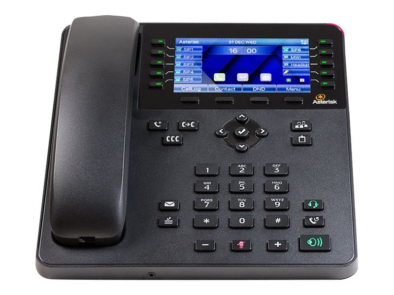 medium resolution of closeup of digium a30 6 line sip phone with hd voice and 4 3 color