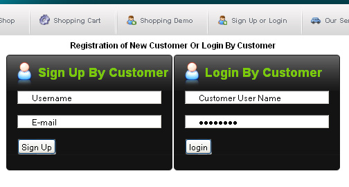 signup process at the eshopping project