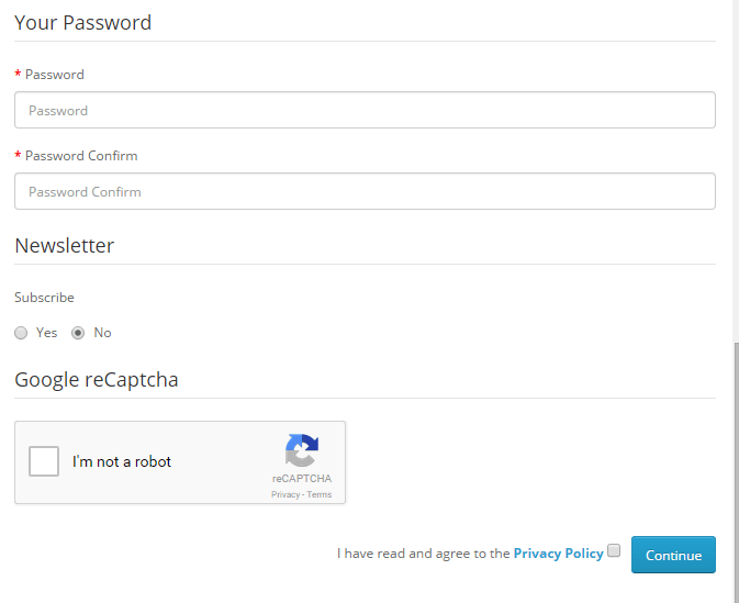Activate google recaptcha at registration page in Opencart