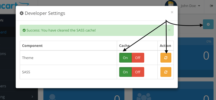 Clear theme cache and SCSS cache in Opencart