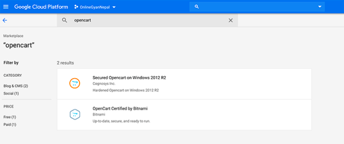 Search Opencart in Google Cloud