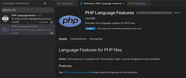 PHP language features