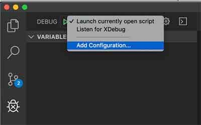 Xdebug configuration in VSCode