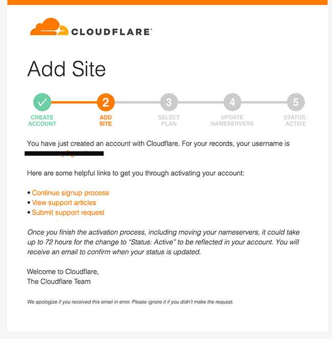 Cloudflare email to setup