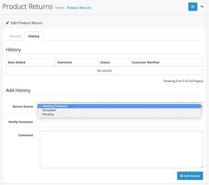 product returns history in Opencart