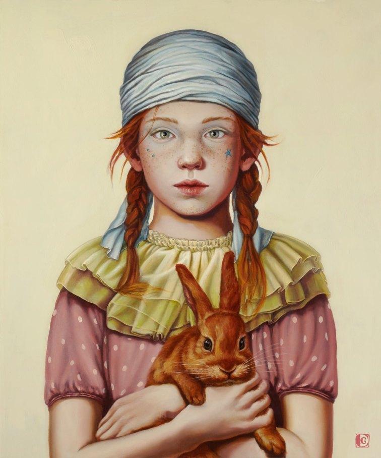 CLAUDIA GIRAUDO, Segui il coniglio rosso, 2018, olio su tela, 60 x 50 cm