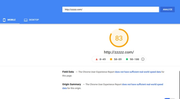 page speed of a website