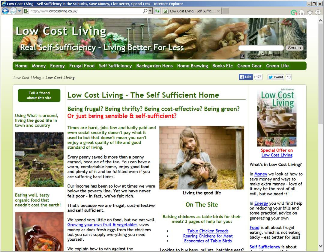 Low Cost Living Web Site About Frugal Living  WebOne UK