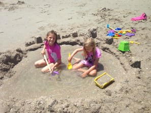 Lacie and I built a big sand castle