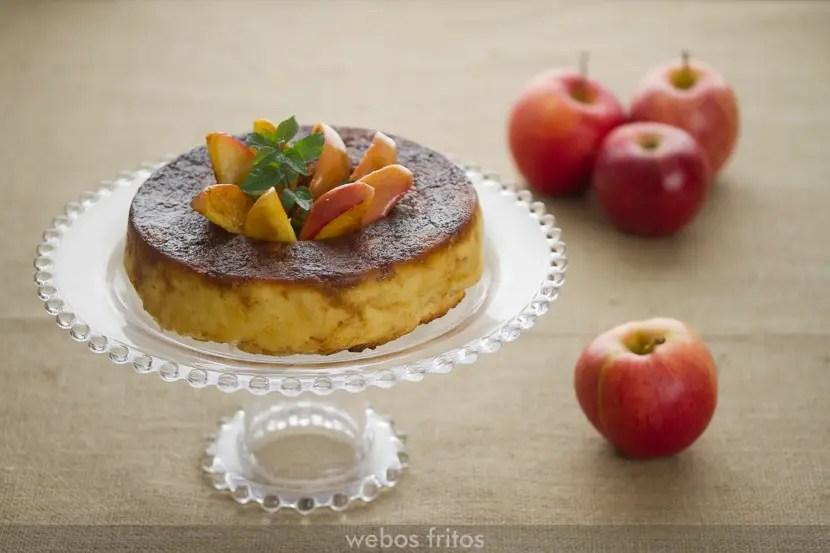 Pudin de pan de molde y manzana  webos fritos