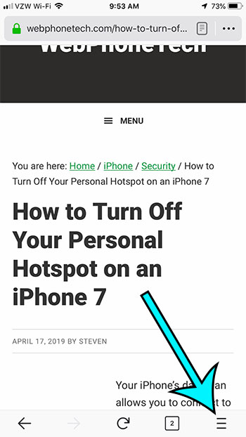 open the firefox for ios menu