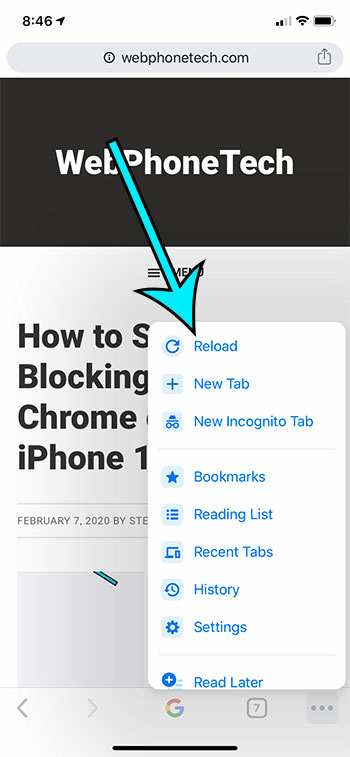 how to refresh a Web page in Chrome on an iPhone