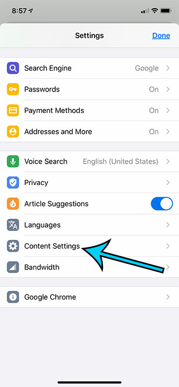 choose the Content Settings option