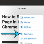 How to Add a Web Page to Your Reading List in the Chrome iPhone App