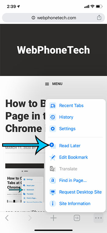 how to add a Web page to the Chrome iPhone reading list