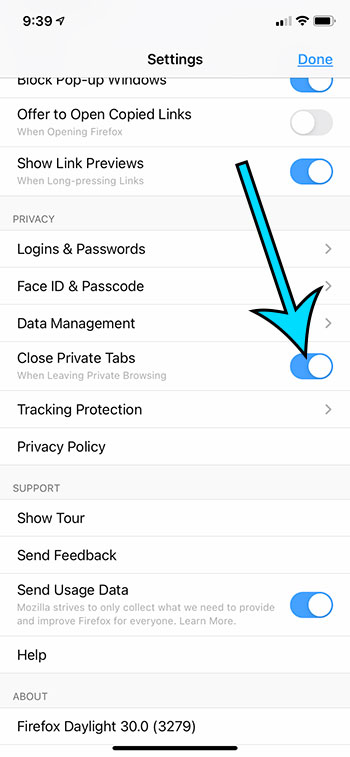 how to close private tabs automatically in Firefox on an iPhone