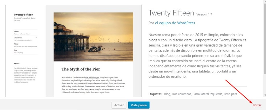Borrar tema en WordPress