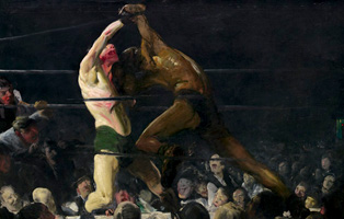 George Bellows Club Night, 1907 oil on canvas Overall: 109.2 x 135 cm (43 x 53 1/8 in.) framed: 127.6 x 153 x 9.5 cm (50 1/4 x 60 1/4 x 3 3/4 in.) National Gallery of Art, Washington, John Hay Whitney Collection