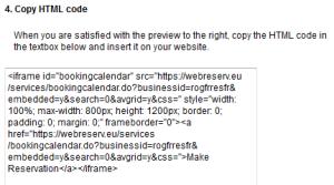 Calendar HTML code