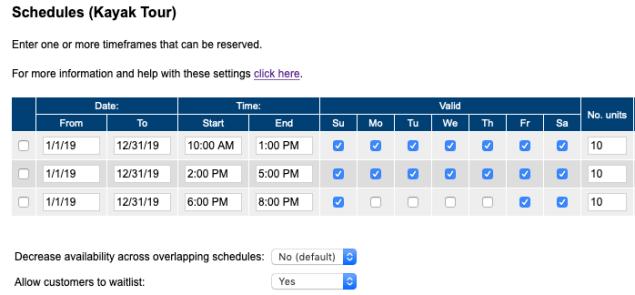 Schedules - kayak tour